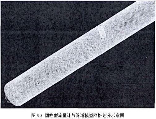 圆柱型插入式电磁流量计与管道模型网格划分示意图