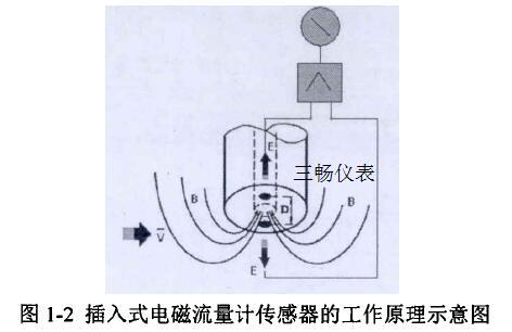 插入式电磁流量计传感器的工作原理示意图