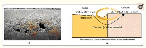 (a)对管道的腐蚀影响; (b)腐蚀过程。